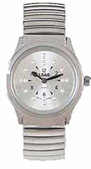 LS&S Braille Watch - Silver Face - Silver Expansion Band - Ladies