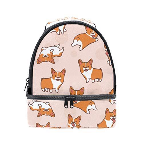 Alinlo Corgi Dog Boîte à lunch Sac isotherme Sac avec bandoulière réglable pour motifs Pincnic à l'école