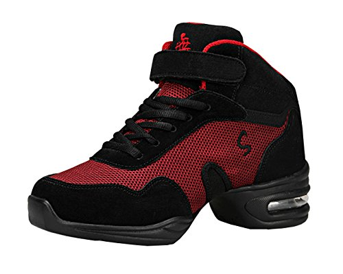 Dance Jazz Agility Mesh Sneakers Black Breathable Shoes VECJUNIA Red Modern Adults Trainers Ladies 4q8I0z