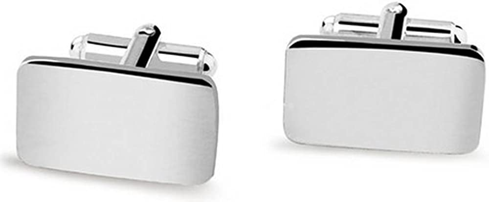 David Van Hagen Mens Rectangular Cufflinks Silver