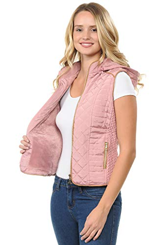 Best Pink Quilted Fur Winter Vest Hoodie Women Sexy Petite Dress Up Outdoor Travel Light Fluffy Long Jean Jacket Zipper Easter Basket Stuffer Sale Gift Idea for Youth Teen Girl Ladies (Pink, S)