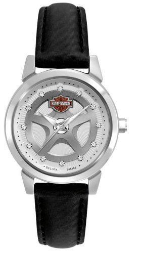 Harley-Davidson Women's Bulova Watch. Leather strap. Swarovski. 76L159