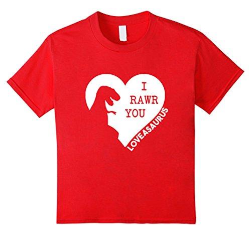 Kids Dinosaur Valentine's Day T-Shirt Dino Valentines Boys Girls 4 Red (Red Dinosaur Costume)