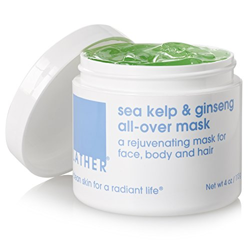 LATHER Sea Kelp and Ginseng All Over Mask 4 oz – a natural, detox body and hair mask, great for after sun (Sun Care Oat Protein)