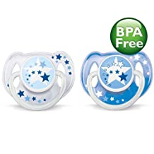 Philips AVENT BPA Free Nighttime Infant Pacifier, 0-6 Months, 2-Count, Blue/Clear