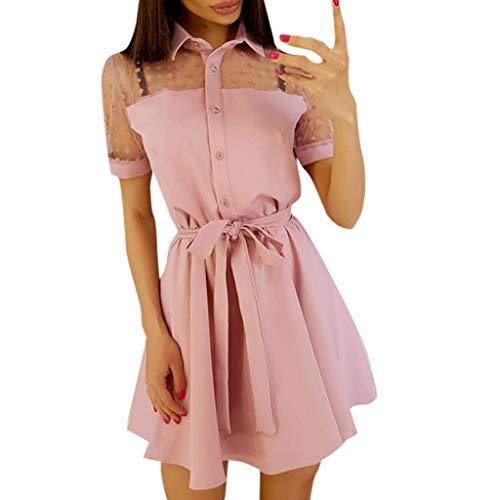 Wannafly Vintage Boho Women Summer Short Sleeve Patchwork Lace Long T-Shirt Tops Sweet Cute V-Neck Bell Sleeve Shift Dress Pink