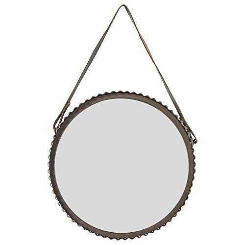 Stone & Beam Rustic Farmhouse Round Wood Iron Mirror with Faux Leather -