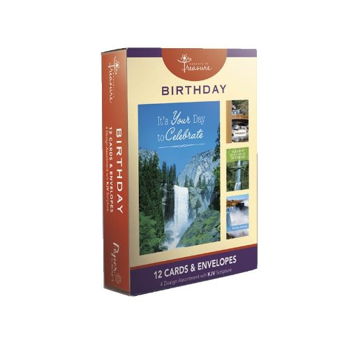 picture of 12PK BOXED Waterfalls BIRTHDAY CARDS Bulk WITH KJV SCRIPTURE - Waterfall Greeting Cards BDAY for Her for Him