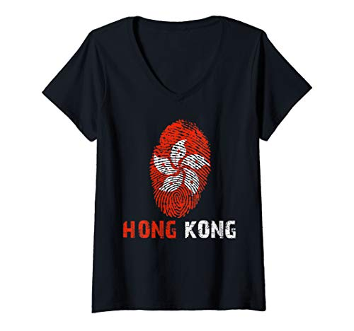 Womens HONG KONG Finger Print Flag Tshirt I Love Travel Tee V-Neck T-Shirt