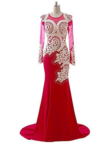 Strass Boden Love L Perlen nge Rot 1 Langarm Frauen Abendkleid Meerjungfrau King's Spitze Sheer Mieder Applikationen Abendkleid Kleid xHwCqxY