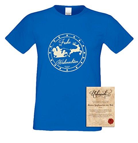 T-Shirt - Frohe Weihnachten Weihnachtsmann mit Schlitten Shirt Farbe royal - Weihnachtsshirt als Outfit für die Festtage