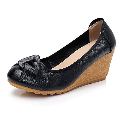 Womens Wedge Pumps Heel Shoes Slip On with Bows Mother of Brige Shoes for Wedding Office Business Size 8 Black ()