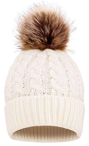 AbbyLexi Womens Knit Winter Hat Pom Pom Beanie
