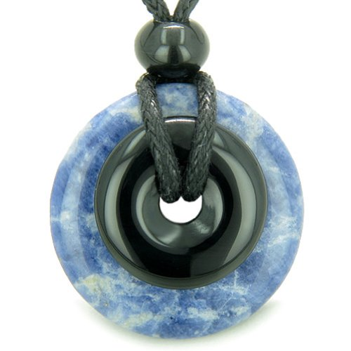 Amulet Magic Donuts Sodalite and Black Agate Protection Healing Powers Pendant Necklace