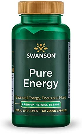 Swanson Pure Energy Metabolism Concentration Mental Focus Mood Support Stress Management Adaptogenic Herbs Herbal Supplement 60 Veggie Capsules Veg Caps Vegan