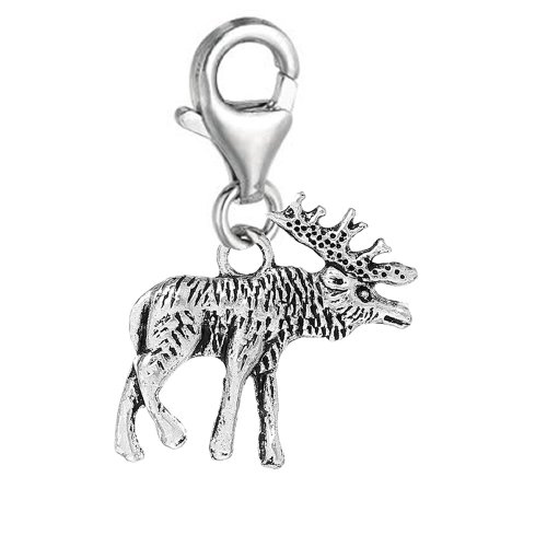 SEXY SPARKLES Clip on Moose Charm Pendant for European Clip on Charm Jewelry w/Lobster Clasp