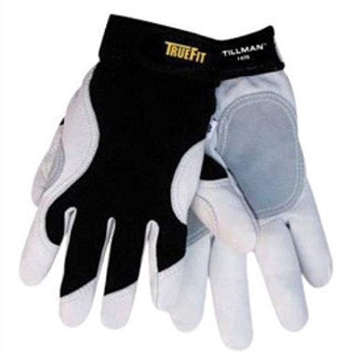 (Tillman Medium Black And White TrueFit Premium Full Finger Top Grain Cowhide And Spandex Mechanics Gl oves With Elastic Cuff, Double Leather Palm, And Reinforced Thumb. Purc hase of 3 Pairs)