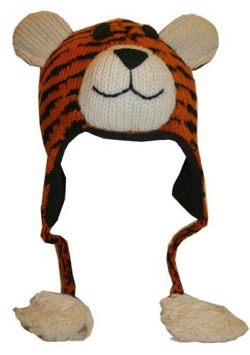 60 H Agan Traders Wool Trapper Beanie Cap Animal (Hat - Tiger)