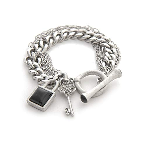 Rivka Friedman Multi Chain White Rhodium Gem Stone Charm Toggle Bracelet