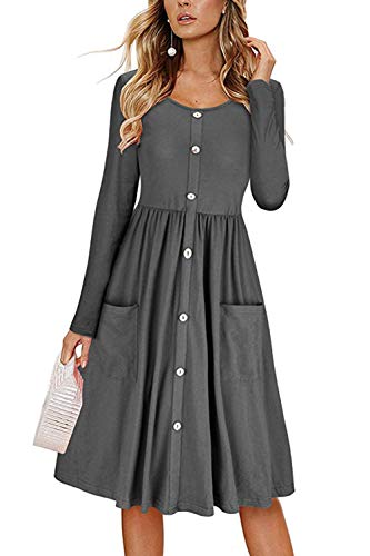 HSRKB Womens Midi Dresses Fall Long Sleeve V Neck Dress Button Down with Pockets