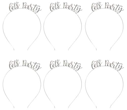 Let's Party Headbands - 6-Pack Silver Plated Headbands, Fun Bachelorette, Birthday Party Supplies, Fits Teens and - Headband Bachelorette