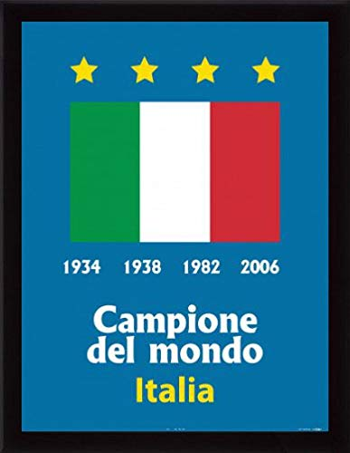 World Champions Cup Italy - 1art1 Football Poster Art Print and Frame (MDF) Black - Italy World Cup Champion 1934 1938 1982 2006 (32 x 24 inches)