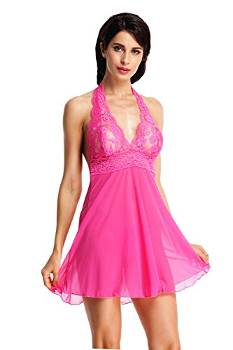 Back Baby Doll Lingerie (BeLuring Womens Mesh Halter Low Back Lace Floral Babydoll Lingerie with G-string)