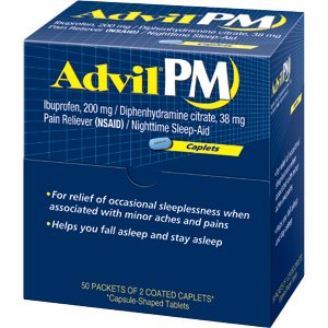 Advil Pm Pain/fever Reducer Tablets 200mg - 50 Packets of 2 Coated Caplets Each Advil Pm by Advil