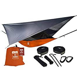Oak Creek Camping Hammock and Accessories. Complete Package Includes Mosquito Net, Rain Fly, Tree Straps and Portable…