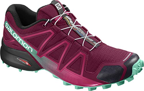 Salomon Women's Speedcross 4 W Trail Running Shoe, Beet red/Electric Green/Black, 9 M US (Best Ski Boots For Wide Feet 2019)