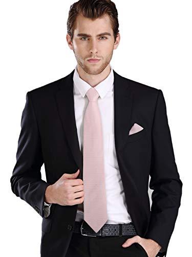 Landisun Silk Tie Set Solid Tie+Hanky+Cufflinks Light Pink