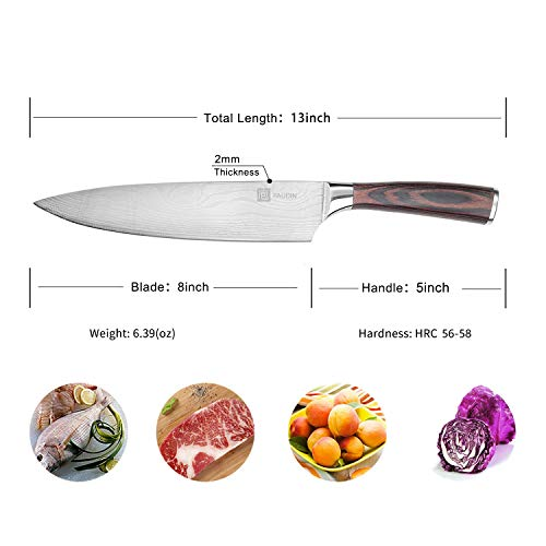 PAUDIN Pro Kitchen Knife 8 Inch Chef's Knife N1 German High Carbon Stainless Steel Knife with Ergonomic Handle, Ultra Sharp, Best Choice for Home Kitchen and Restaurant by PAUDIN (Image #6)