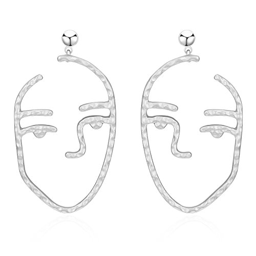 Ethnic Human Face Drop Earrings Tribal Jewelry For Women With Hammered Surface (Hammered Surface)