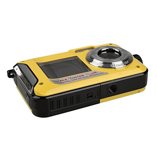 Fitiger Digital Camera 2.7 inch +1.8 inch Screens HD 1080P CMOS 16x Zoom Camcorder Mini Camera-Yellow
