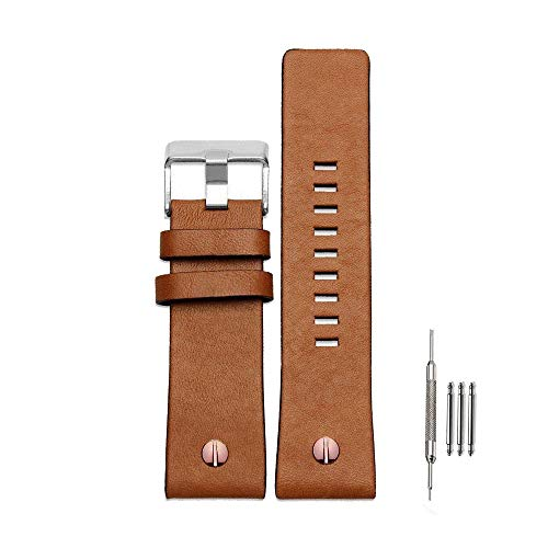 Finjin R Calfskin Leather Watch Band Suitable for Men's Diesel Watches (24 mm, Brown) ()