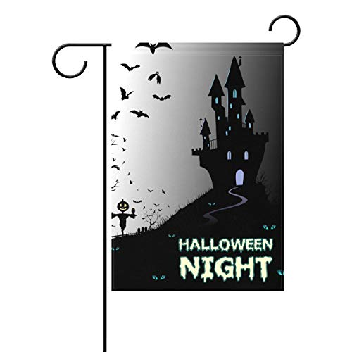 Decorative Retro Vintage Happy Halloween Night Pumpkin Owls Ghost Castle Garden Yard Flag Banner for Outside House Flower Pot Double Side Print Polyester 28x40IN