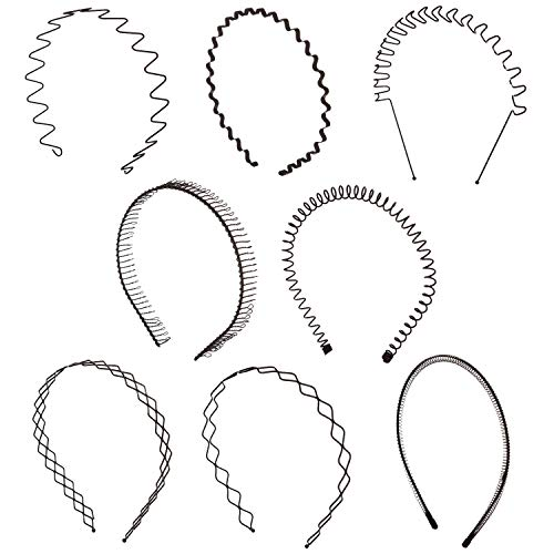 Folora 8pcs Unisex Black Spring Wavy Metal Hair Hoop Band Men Women Sports Headband Headwear Bandeau Accessories