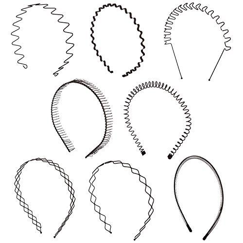 Unisex Metal - Folora 8pcs Unisex Black Spring Wavy Metal Hair Hoop Band Men Women Sports Headband Headwear Bandeau Accessories