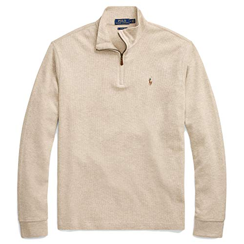 Polo Ralph Lauren Mens Half Zip French Rib Cotton Sweater (Medium, ExpDuneSigPony) -
