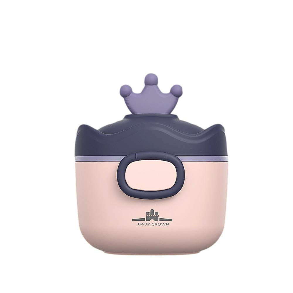 Le Ning Portable Formula Milk Powder Box with Spoon, BPA-Free Milk Powder Container, Baby Food, Candy Fruit Box, Snack Container, Sealed and Moisture-Proof for Infant Travel (Purple)