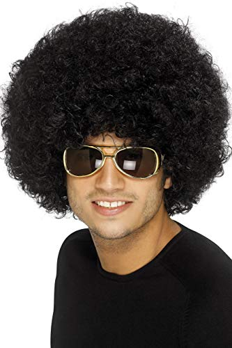 (Smiffys Men's 70's Funky Black Afro Wig, Black, One Size, 120g,)