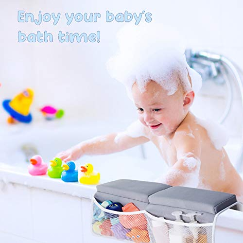 41dt%2BfNIqjL - Beiens Bath Kneeler With Elbow Rest Set, 1.5'' Thick Quickly Dry Kneeling Pad And Elbow Support For Knee & Arm Support Large Bathtub Kneeling Mat With Toy Organizer For Happy Baby Bathing Time (Grey)