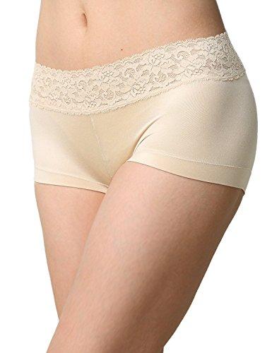 Ladies & Men's story Women's No Show Microfibre Lace Dream Boyshort Panties Boyleg Briefs Underwear(Beige, L)