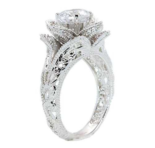 Hand Carved Vintage Inspired Blooming Rose Flower CZ Cubic Zirconia Engagement Ring Size 7.5