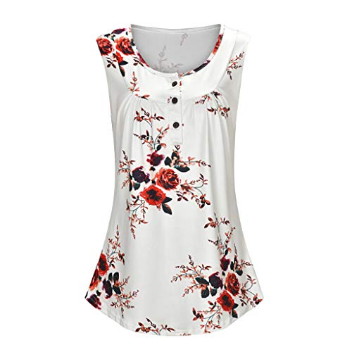 - 〓COOlCCI〓Womens Floral Print Sleeveless Comfy Tunic Tank Top with Buttons Shirts Casual Pleated Summer Tunic Tops Vest White