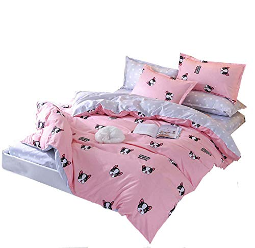 Duvet Cover Set with Zipper -Pink Gray Dog Pattern For Girls Boy Kids Twin Size (Twin, Dogs)