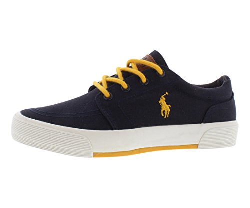 Contrast Leather Sneaker Yellow (Polo Ralph Lauren Kids Faxon II Lace-Up Sneaker (Toddler/Little Kid/Big Kid),Navy/Yellow,6.5 M US Big Kid)