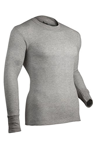 Indera Men's Traditional Long Johns Thermal Underwear Top, HeatherGrey, 6X-Large