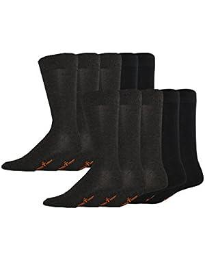 Men's Classics Dress Flat Knit Crew Socks, 10 Pair
