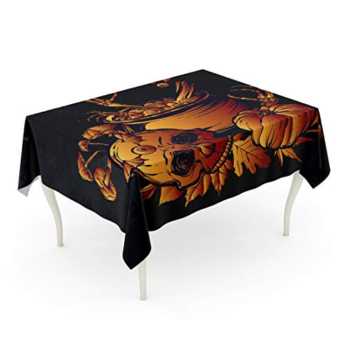 Tarolo Rectangle Tablecloth 60 x 84 Inch Watercolor Autumn Halloween The Witch Cauldron Skull Leaves Pumpkin Mushrooms on Chalkboard Tattoos Red Yellow Color Black Table Cloth